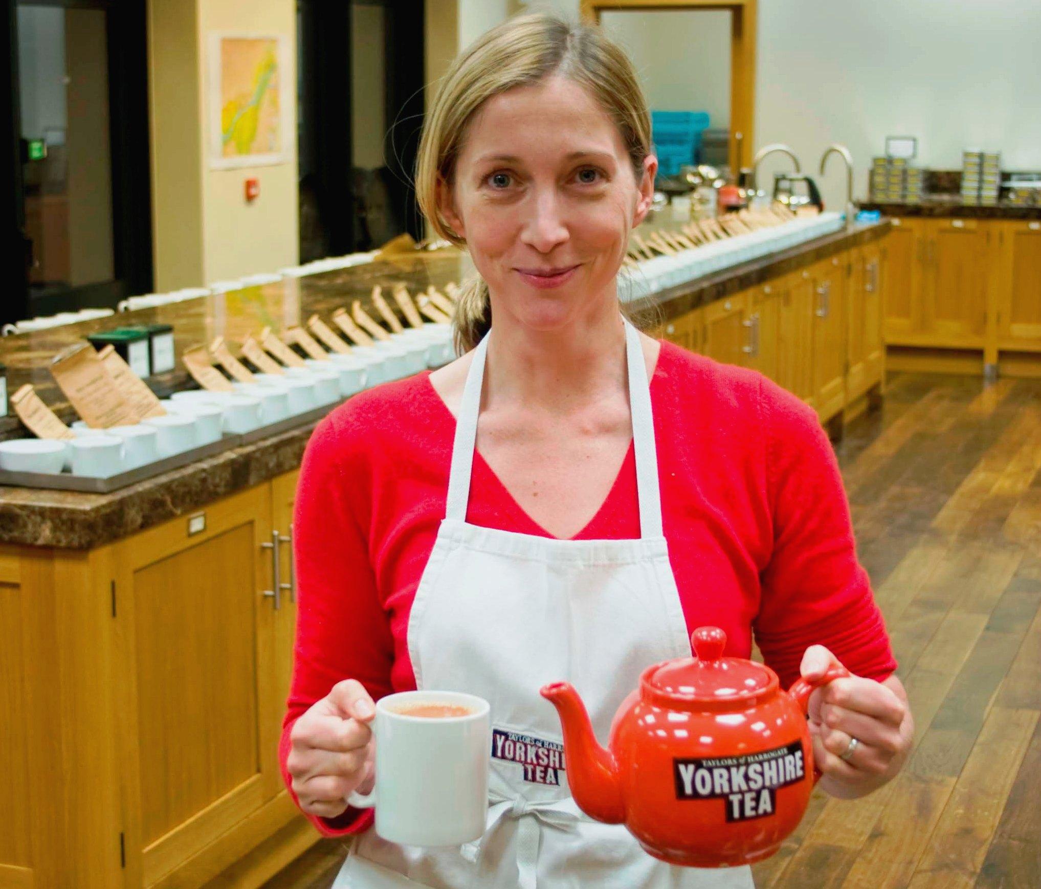 Tea buyer Kate with a fresh pot of tea